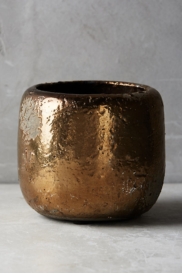 Metallic Crackle Herb Pot - Gold, Size S