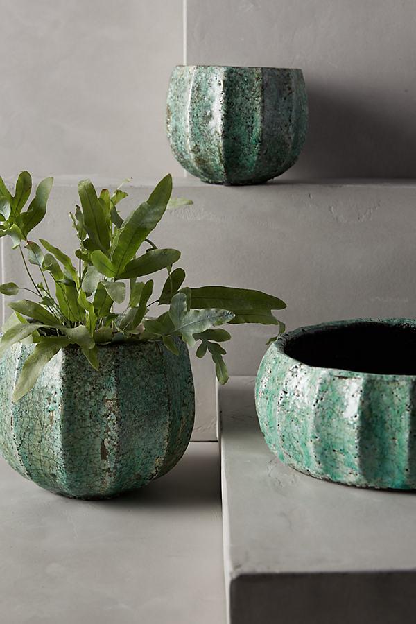 Ridged Terracotta Pot - Blue, Size S