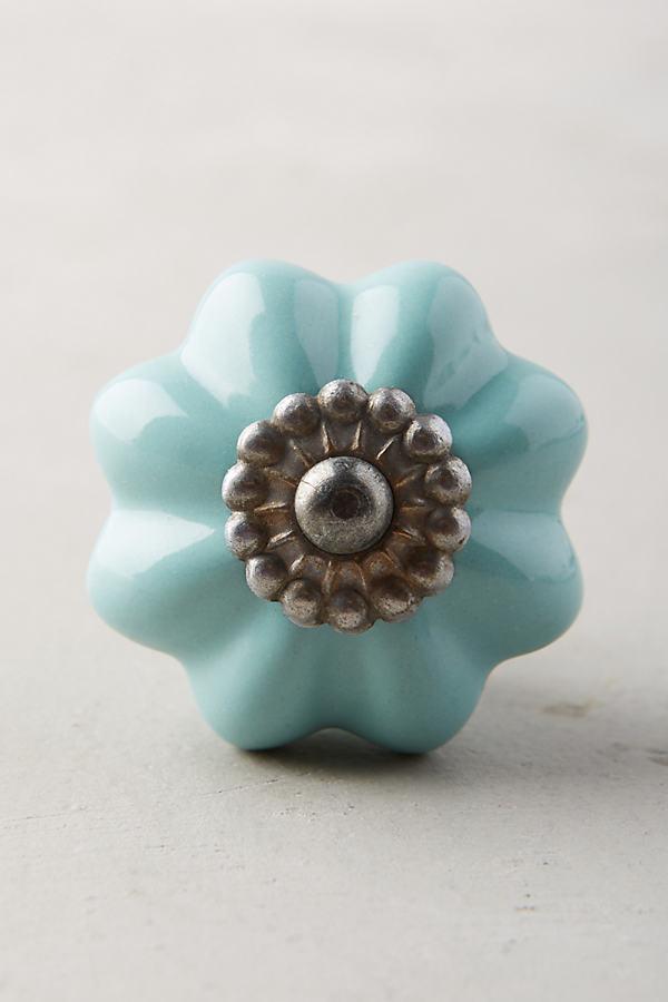 """Kommodenknauf """"Keramikblüte, Zink - Wedgewood Blue"""