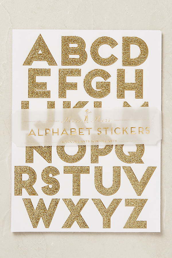 Glitter Alphabet Stickers - Gold