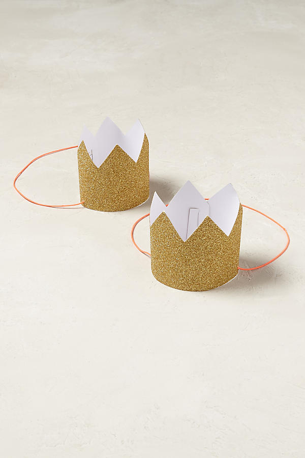 Slide View: 1: Gold Glitter Party Crowns