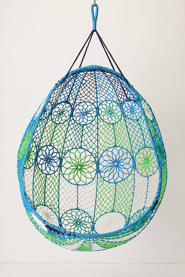 Knotted Melati Hanging Chair - Blue Motif