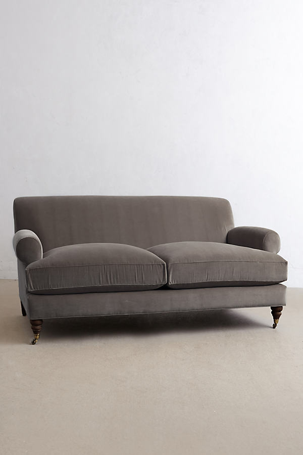 Velvet Willoughby Sofa, Hickory Legs - Dark Grey