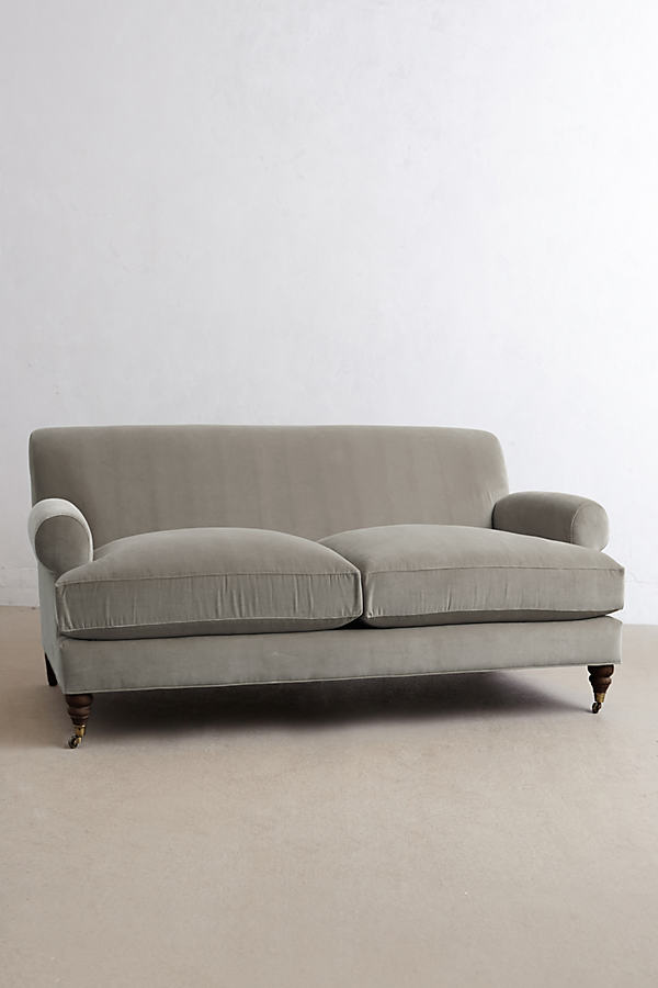 Velvet Willoughby Sofa, Hickory Legs - Light Grey