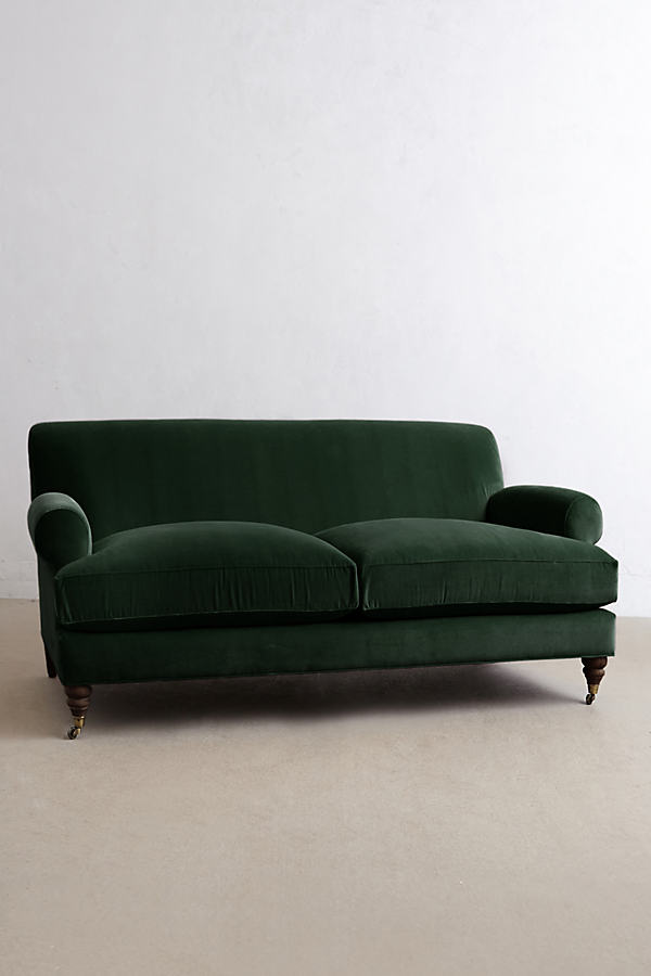 Velvet Willoughby Sofa, Hickory Legs - Green