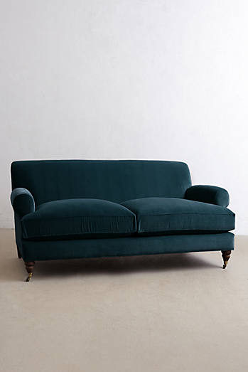 Velvet Willoughby Sofa, Hickory Legs