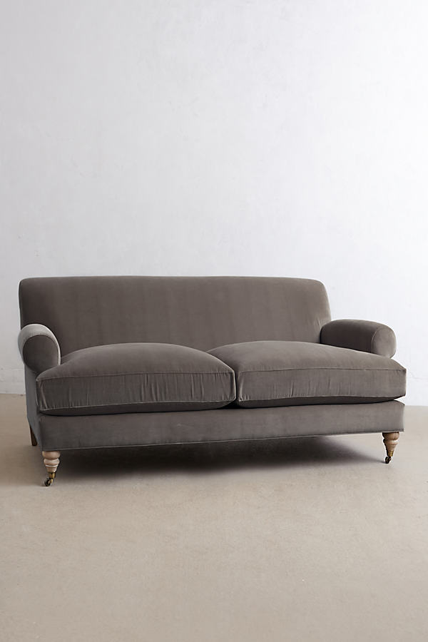Velvet Willoughby Sofa, Wilcox Legs - Dark Grey