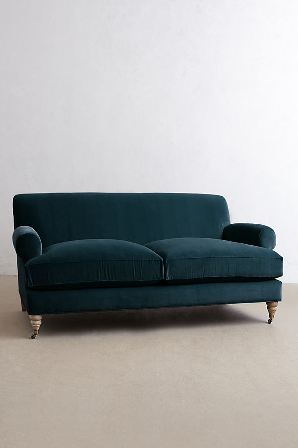 Velvet Willoughby Sofa, Wilcox Legs - Blue