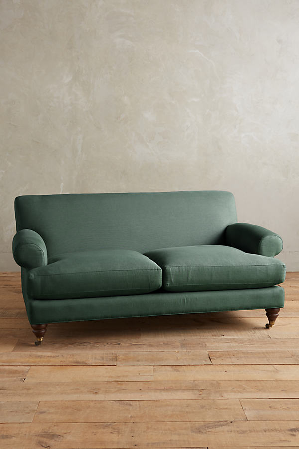 Linen Willoughby Sofa, Hickory Legs - Dark Turquoise