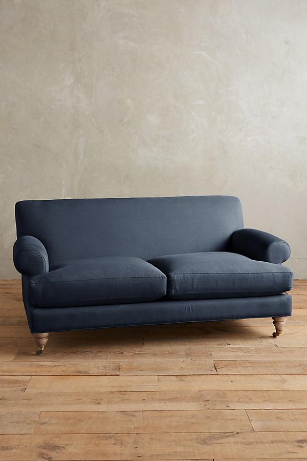 Linen Willoughby Sofa, Wilcox Legs - Navy