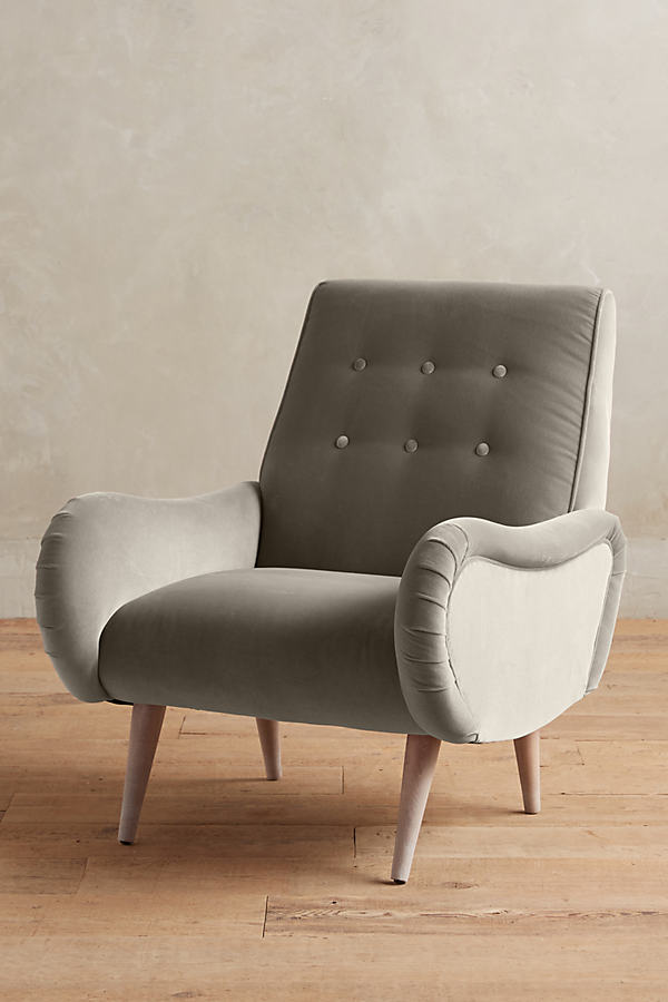 Velvet Losange Chair - Light Grey