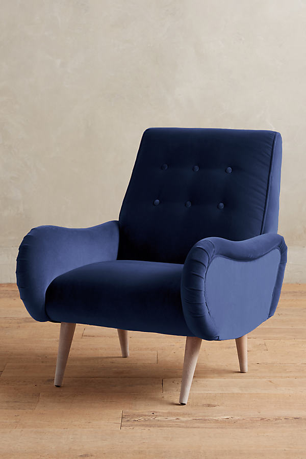 Velvet Losange Chair - Blue