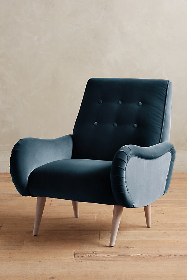 Velvet Losange Chair - Blue Green