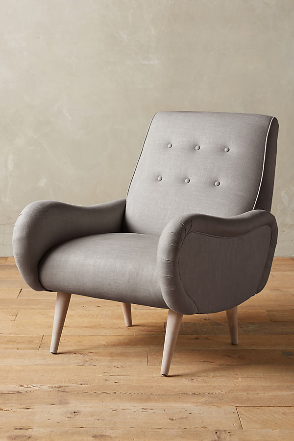 Linen Losange Chair - Light Grey