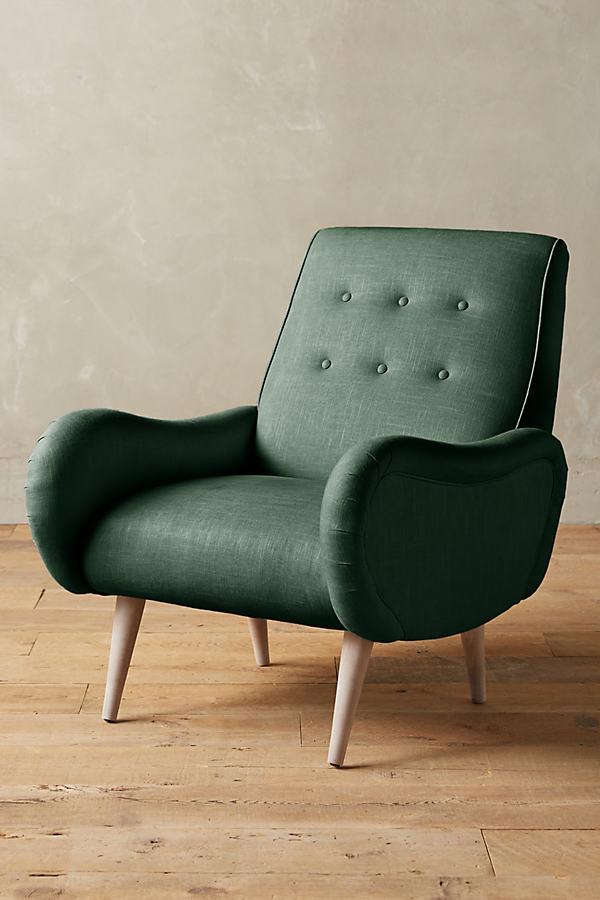 Linen Losange Chair - Dark Turquoise