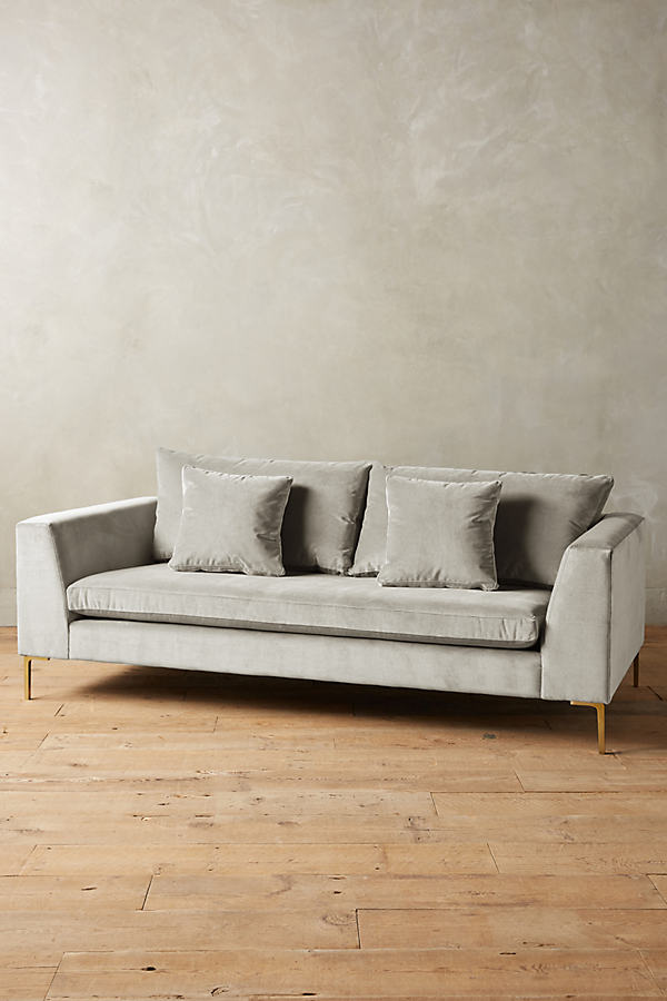 Velvet Edlyn Sofa - Light Grey