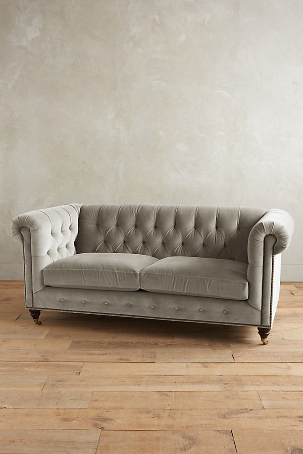 Velvet Lyre Chesterfield Sofa, Hickory Legs - Light Grey