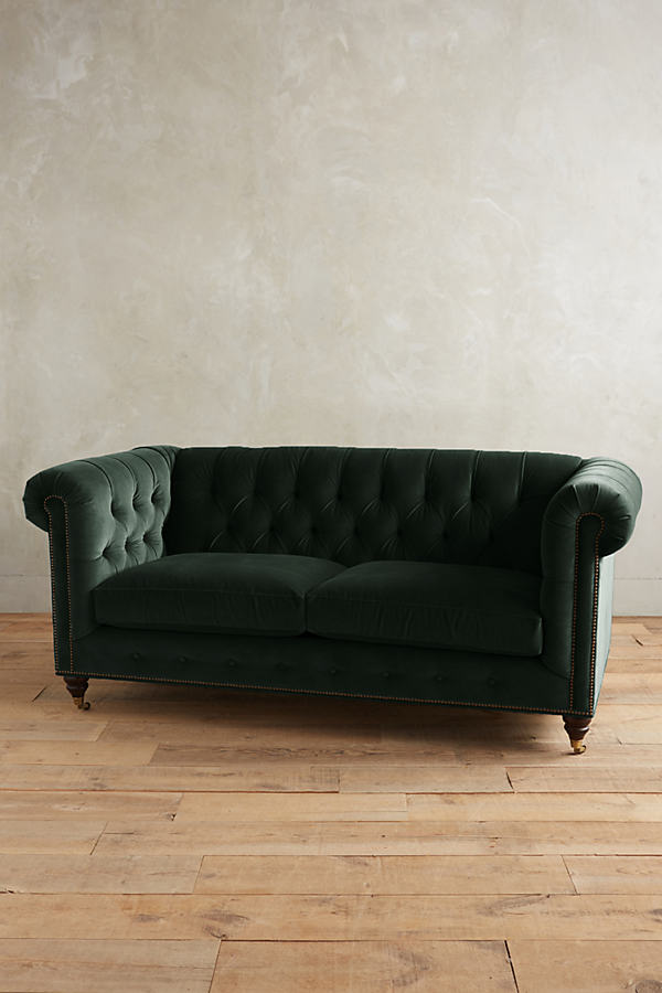 Velvet Lyre Chesterfield Sofa, Hickory Legs - Green