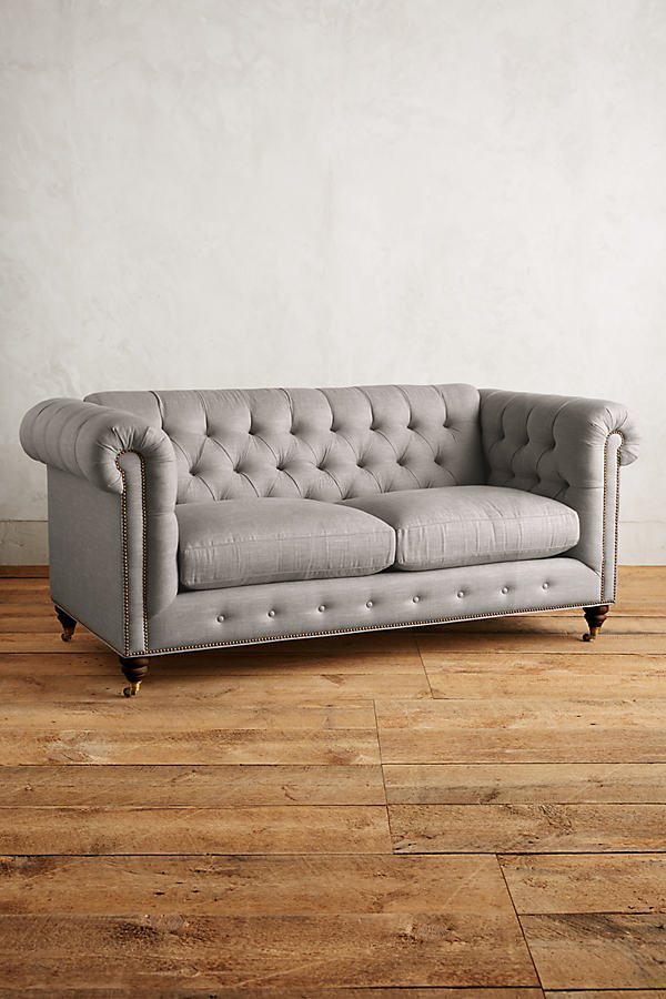 Linen Lyre Chesterfield Sofa, Hickory Legs - Light Grey