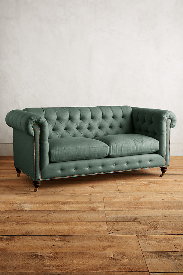 Linen Lyre Chesterfield Sofa, Hickory Legs - Dark Turquoise