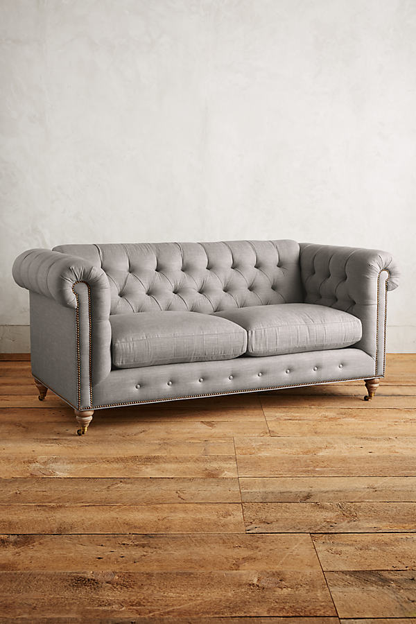 Linen Lyre Chesterfield Sofa, Wilcox Legs - Light Grey