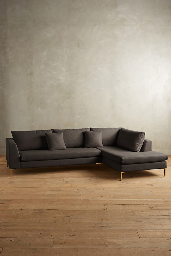 Linen Edlyn Right Sectional - Dark Grey