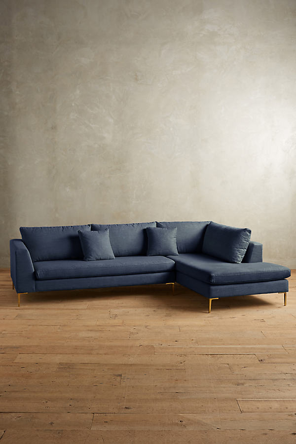 Linen Edlyn Right Sectional - Navy