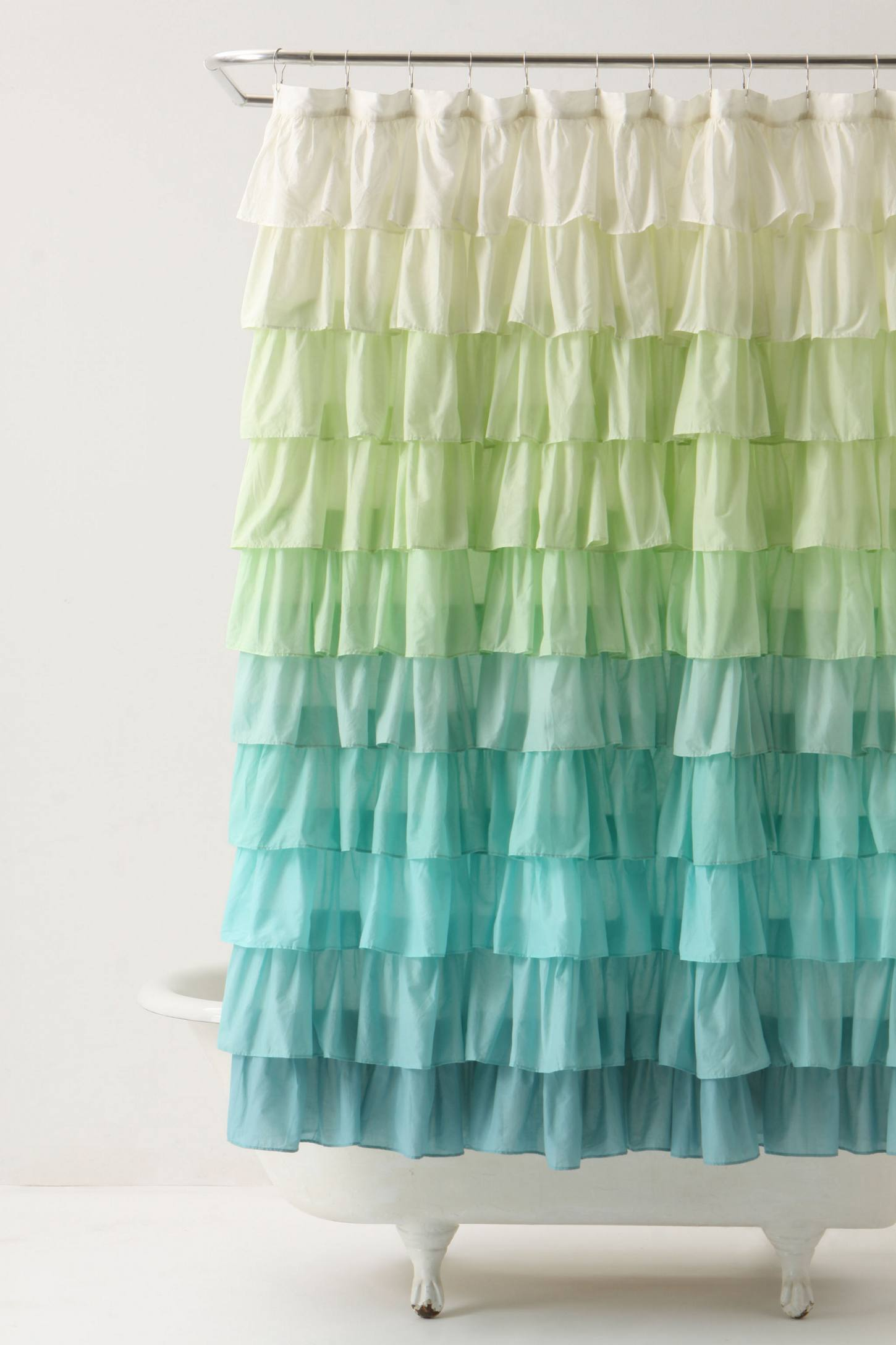 Blue ruffled shower curtains - Ruffled Shower Curtain Anthropologie Language