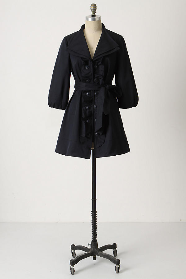 Slide View: 1: Double Ruffle Trench