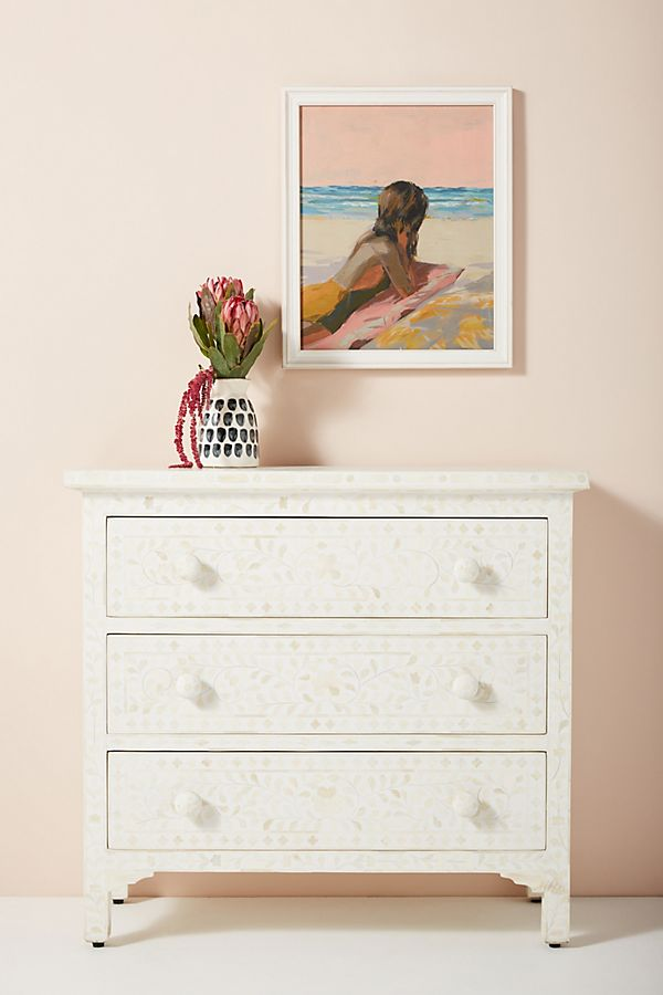 Slide View: 1: Bone Inlay Three-Drawer Dresser