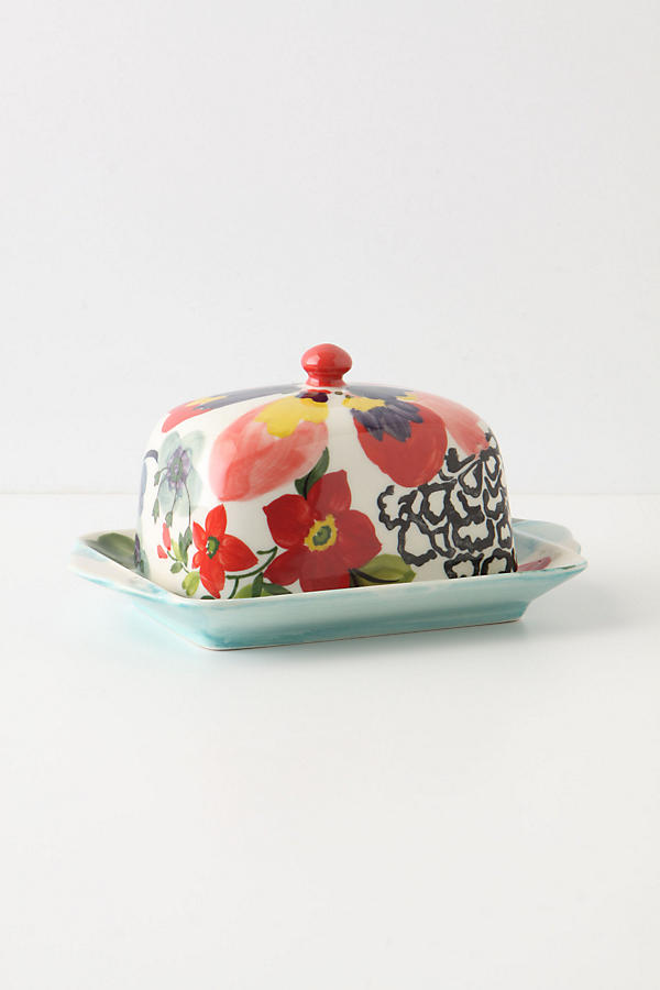 Slide View: 1: Painted Amaryllis Butter Dish