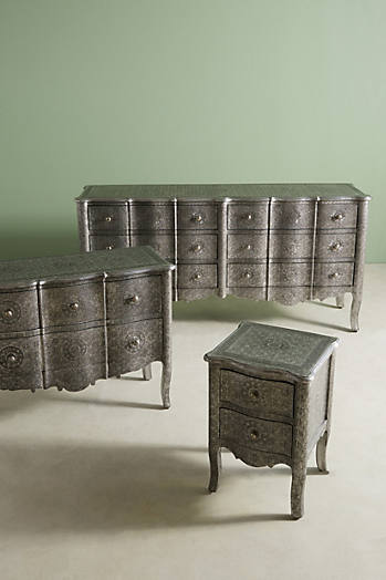 Slide View: 6: Hand-Embossed Six-Drawer Dresser