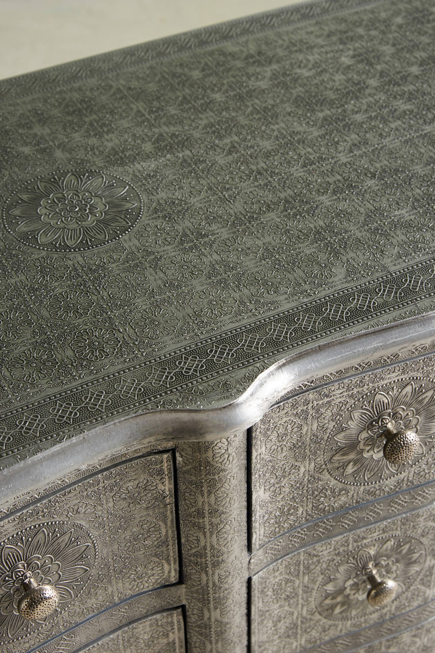 Slide View: 4: Hand-Embossed Six-Drawer Dresser