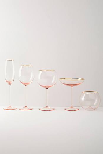 Slide View: 3: Gilded Rim Red Wine Glass