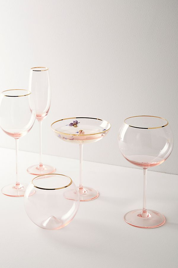 Gilded Rim Red Wine Glass Anthropologie