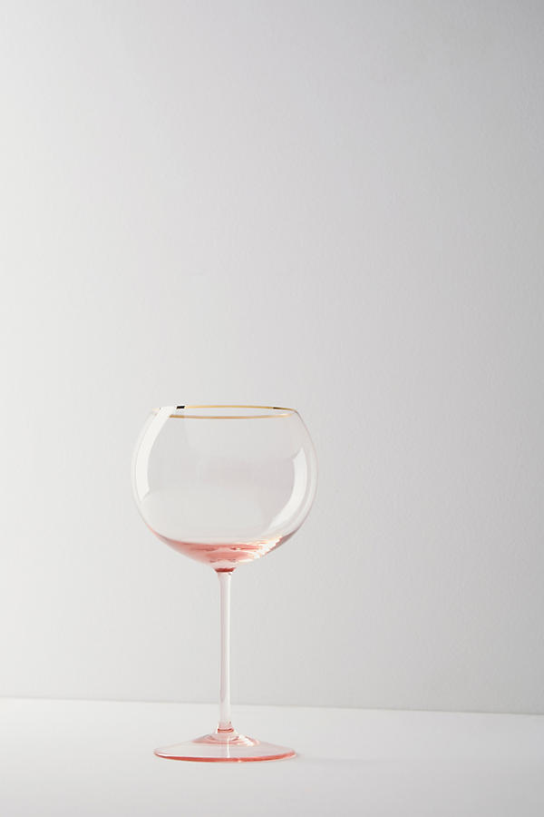 Slide View: 1: Gilded Rim Red Wine Glass
