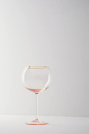 Slide View: 2: Gilded Rim Red Wine Glass