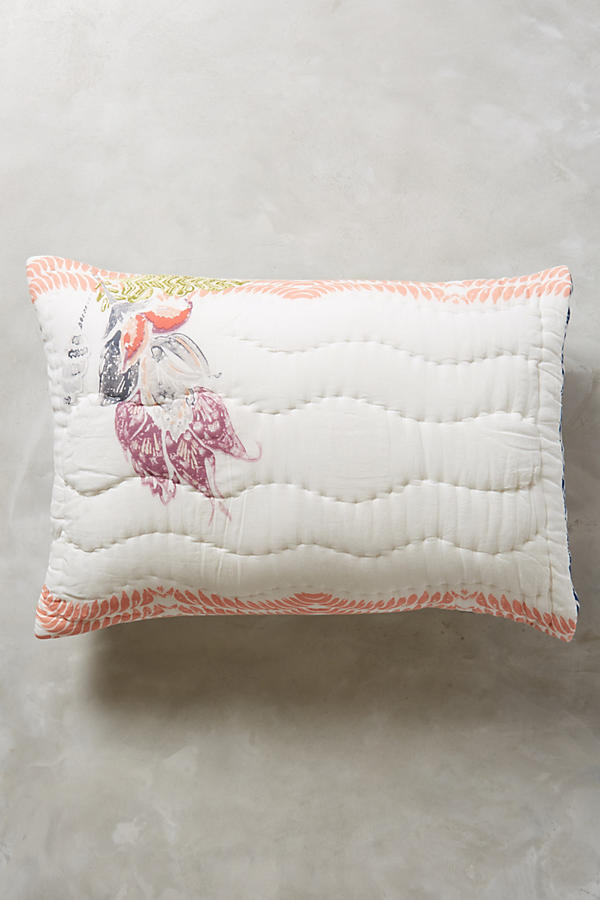 Slide View: 1: Woodblock Floral Shams