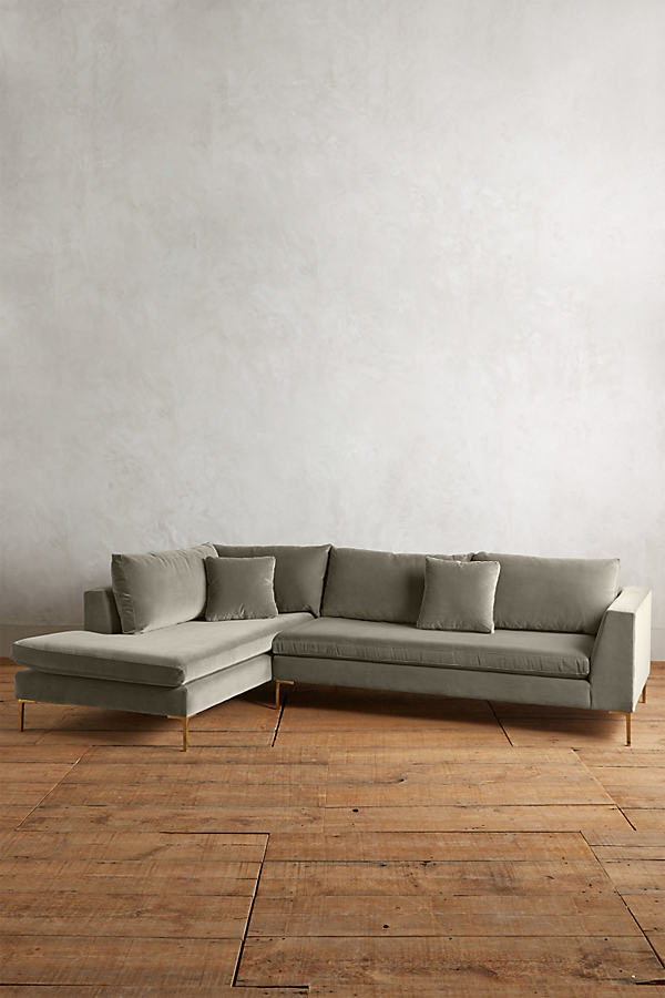 Velvet Edlyn Left Sectional - Light Grey
