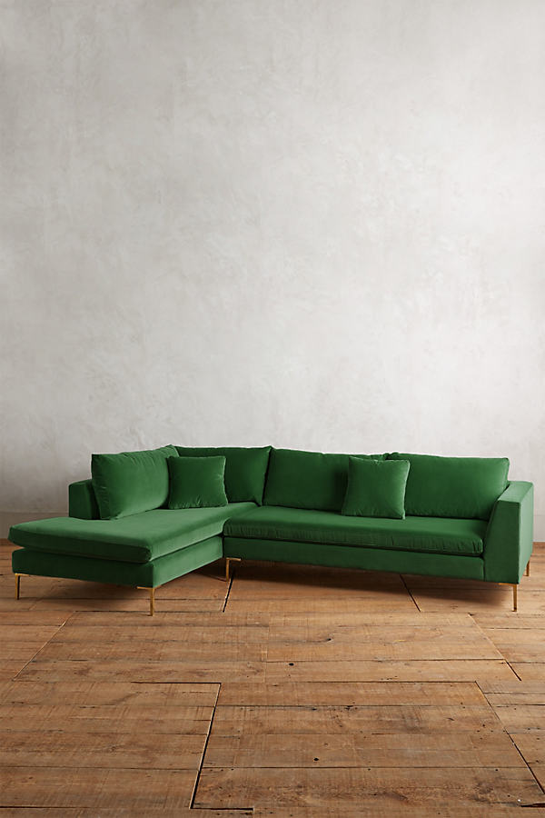 Velvet Edlyn Left Sectional - Green