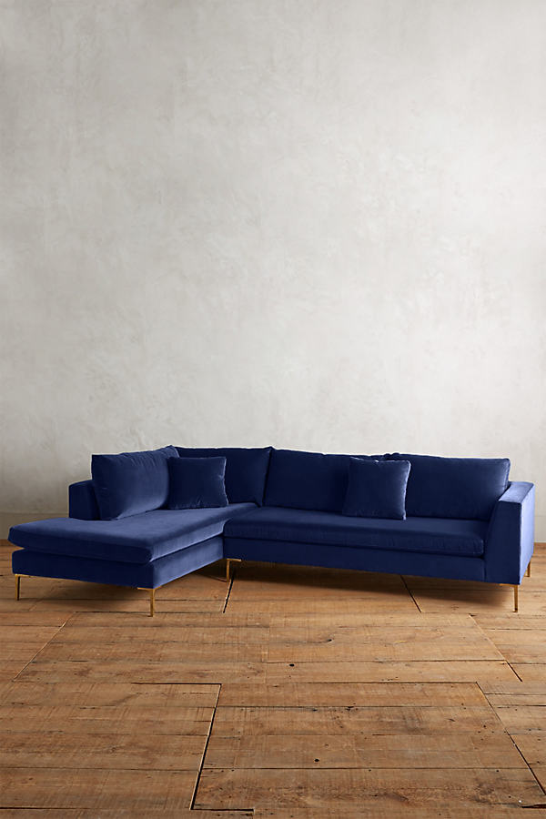 Velvet Edlyn Left Sectional - Navy