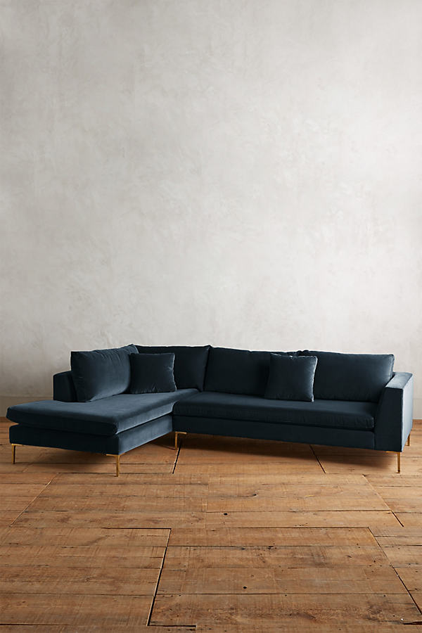 Velvet Edlyn Left Corner Sofa - Blue
