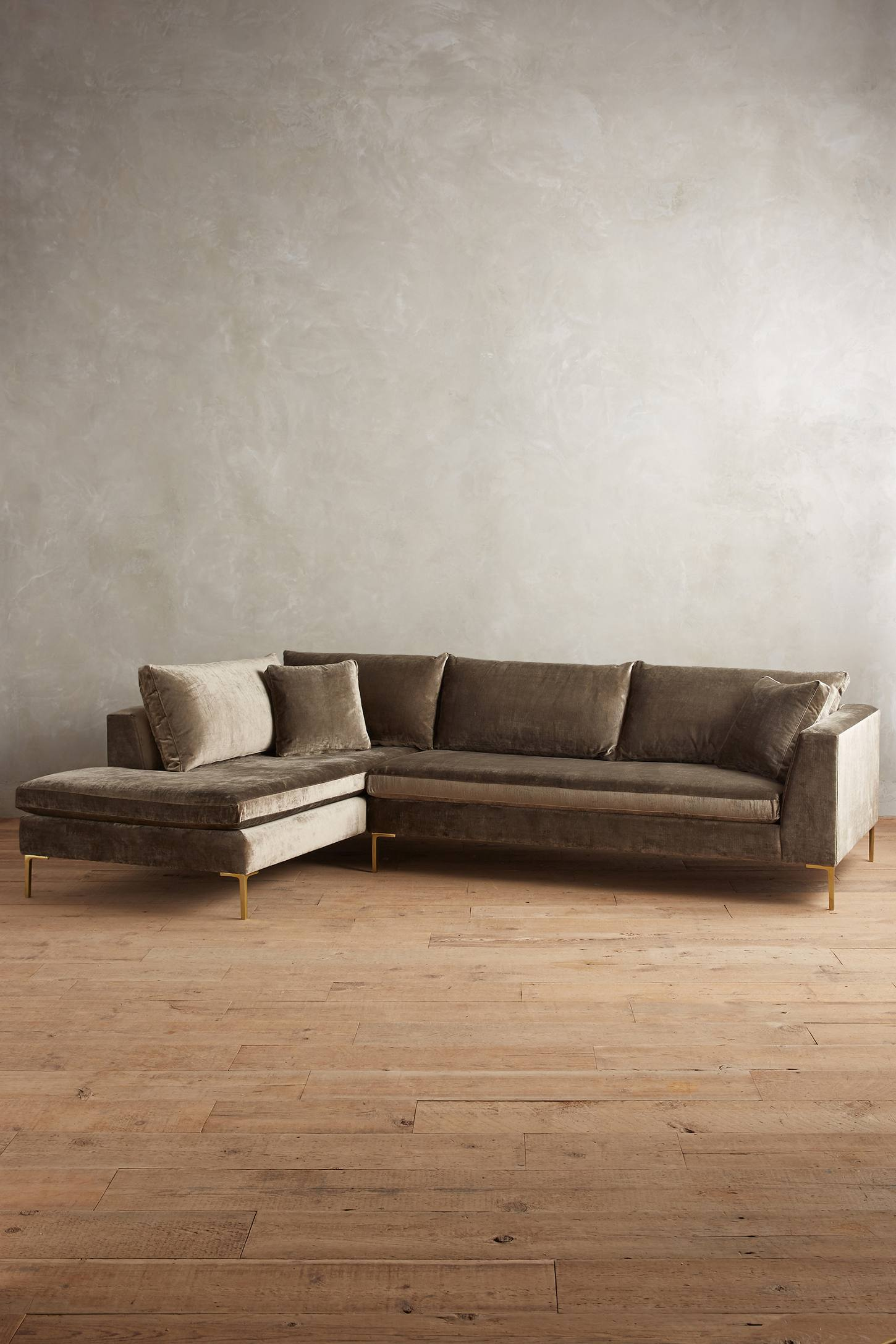 Slide View: 1: Slub Velvet Edlyn Left Sectional