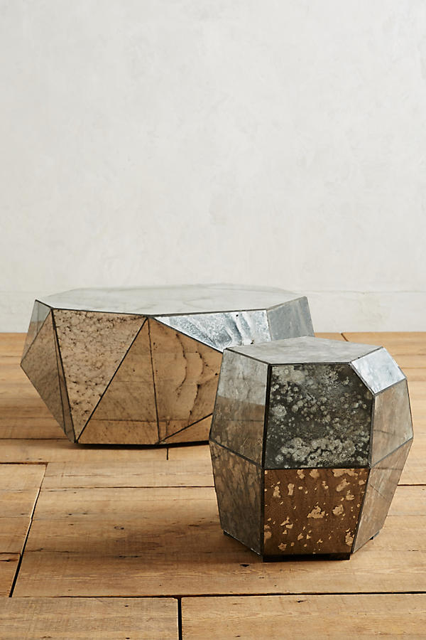 Slide View: 3: Faceted Mirror Coffee Table