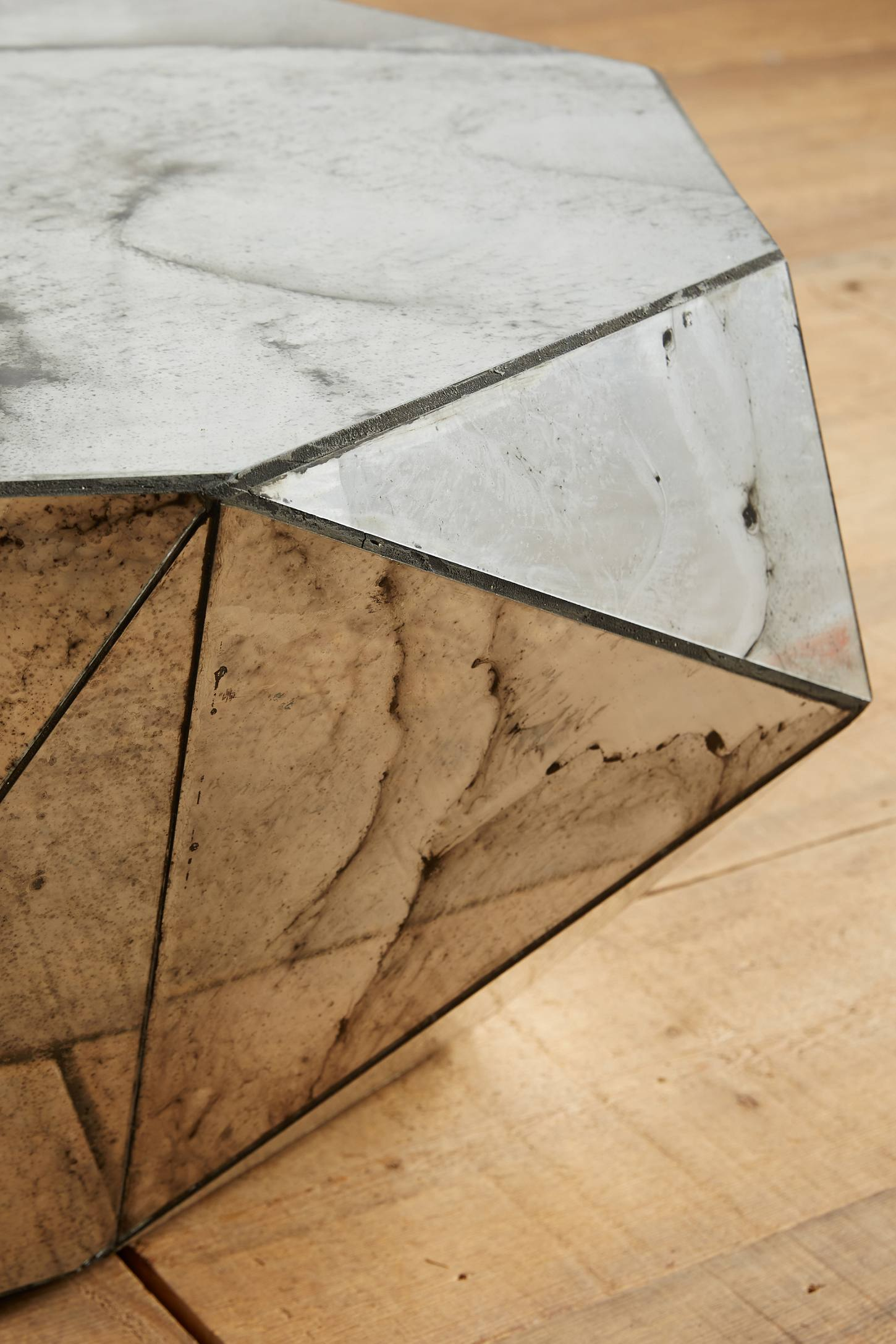 Slide View: 2: Faceted Mirror Coffee Table