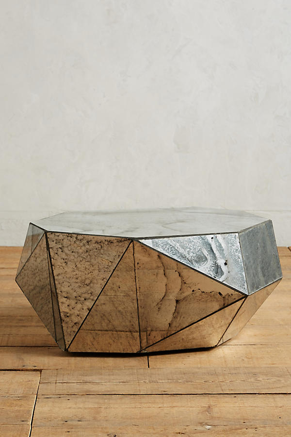 Slide View: 1: Faceted Mirror Coffee Table