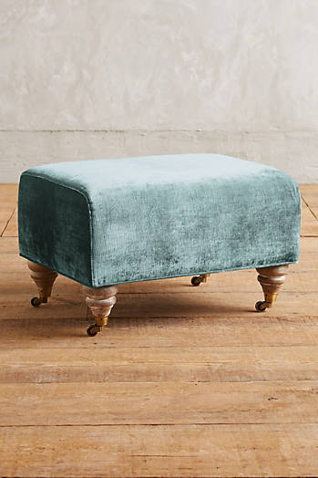Slide View: 1: Slub Velvet Willoughby Ottoman, Wilcox