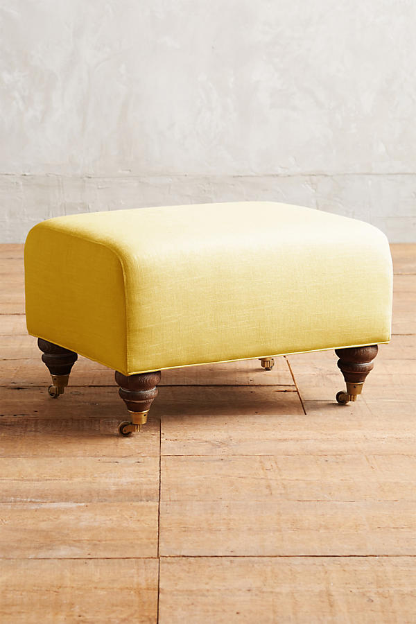 Slide View: 1: Linen Willoughby Ottoman, Hickory