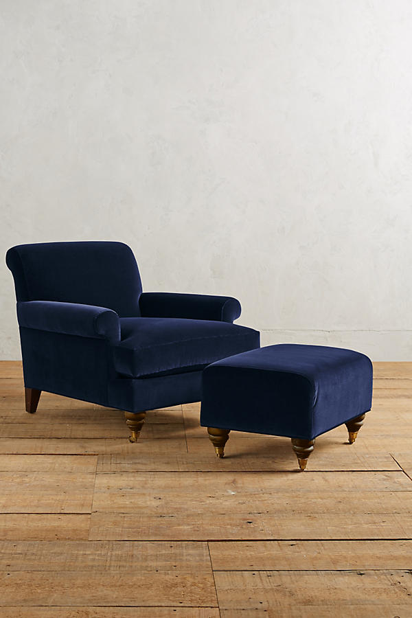 Slide View: 2: Velvet Willoughby Ottoman, Hickory