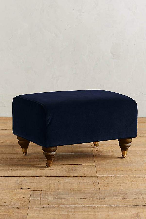 Slide View: 1: Velvet Willoughby Ottoman, Hickory